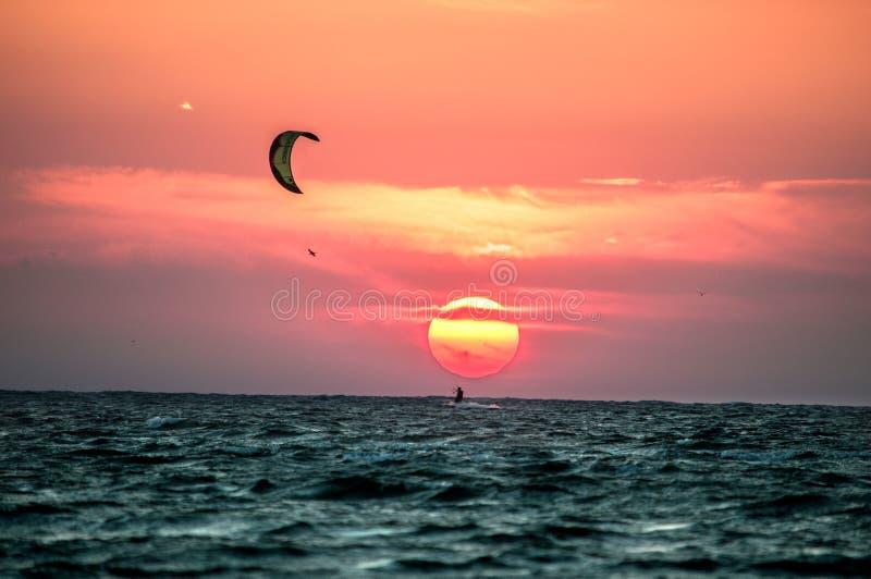 Kiter no por do sol foto de stock royalty free