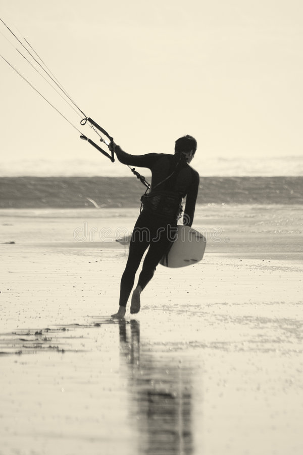 Kiter on the walk stock photography