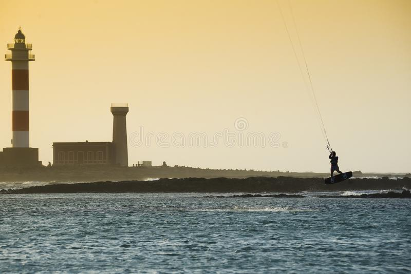Kiteboarding. Kiters jumping, fuerteventura, canary islands royalty free stock images