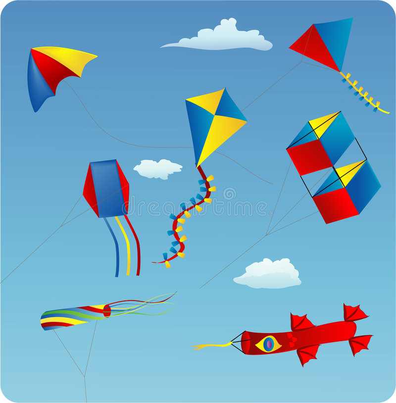 Download Kites stock vector. Image of fish, aviation, kite, triangle - 3990944