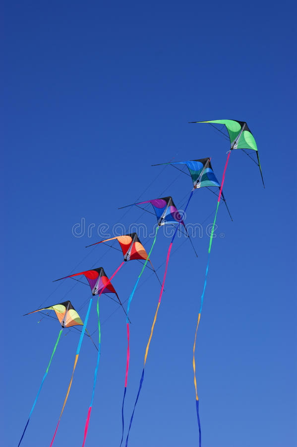 Download Kites against blue sky stock image. Image of group, light - 16888829
