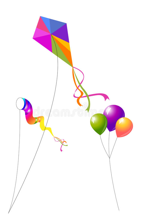 Download Kites and Balloons stock vector. Image of vibrant, tail - 30627580