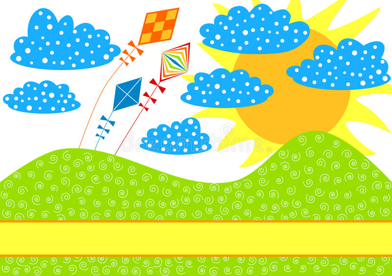 Kites On A Hill Invitation Card Royalty Free Stock Image