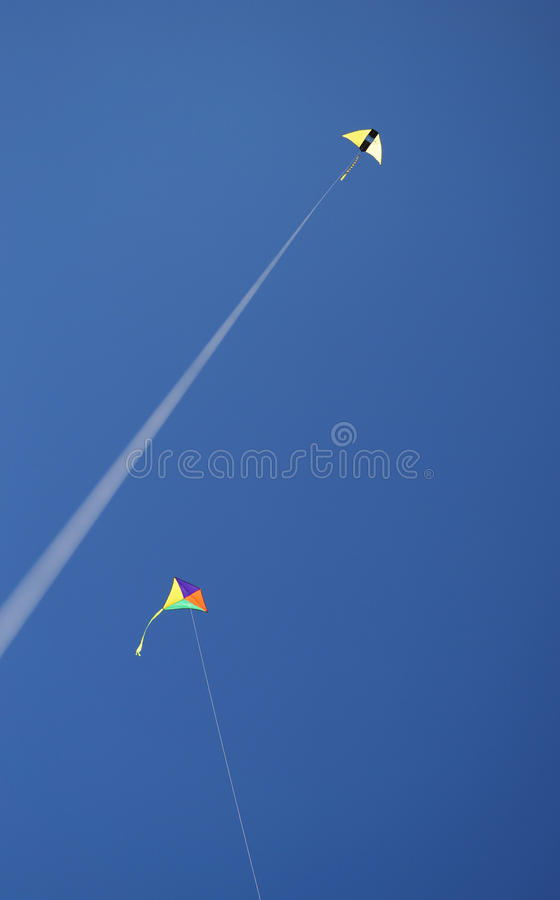 Kites. Kite fly on the beach royalty free stock image