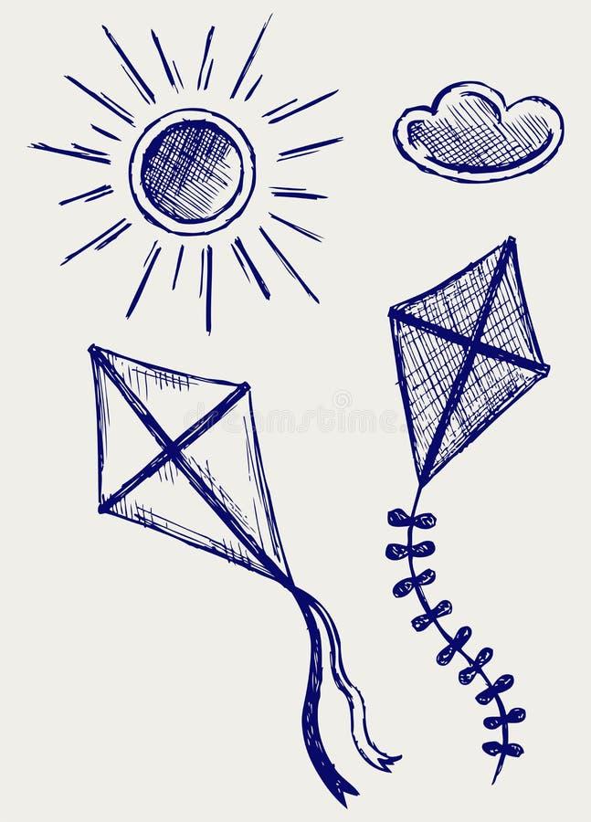 Kites in the sky royalty free illustration