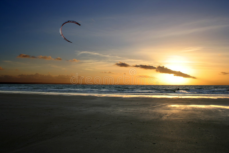 Kitesurf. On a beach in Bretagne stock photos