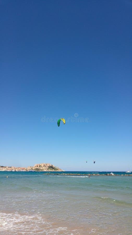 Kitesurf a Calvi fotografia stock