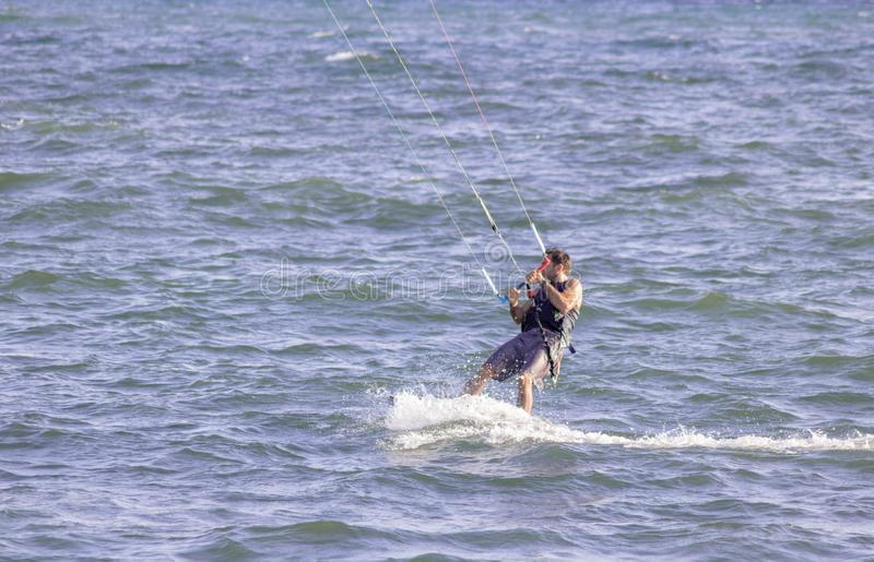 Kitesurf on the Mediterranean Sea, French Riviera, France, Provence. Water sports in the Mediterranean sea, kitesurfing, windsurfing and parasailing, France stock image