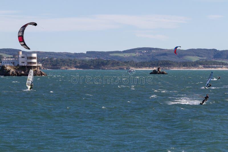 Kitesurf w Santander zdjęcie royalty free