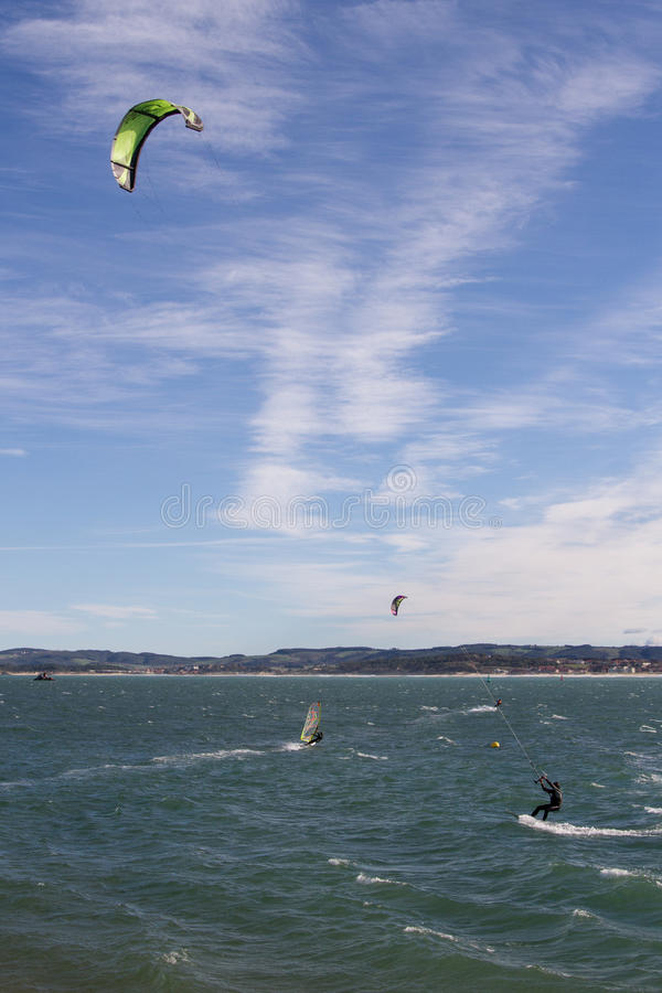 Kitesurf w Santander zdjęcie stock