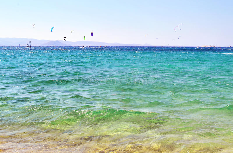 Kitesurf and windsurf Naxos island Greece royalty free stock photography