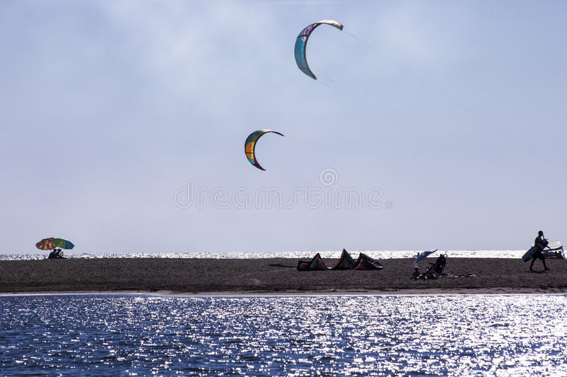 Kitesurf wings. Over the beach of Ada Bojana, Montenegro stock photo