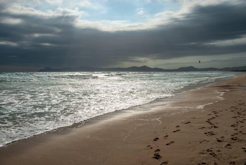 Kitesurfer冲浪与在海滩的一只红色风筝马略卡 库存图片