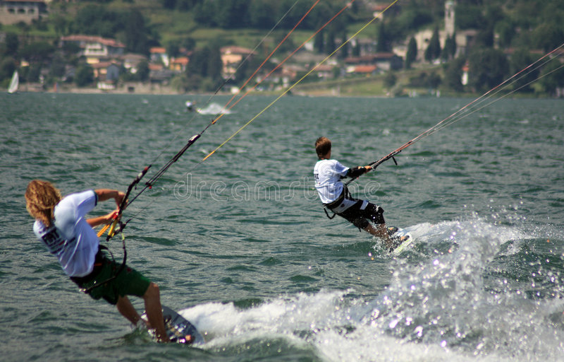 kitesurfer действия стоковое изображение
