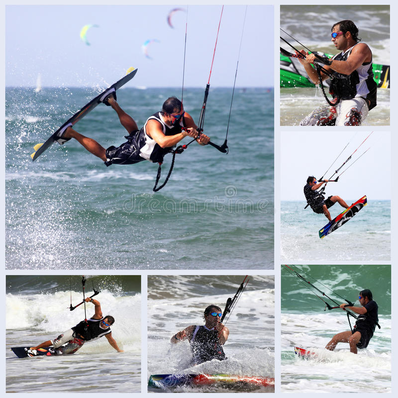 Kitesurfer in action. Collage from 6 photos kiteboarder enjoy surfing in water. Vietnam stock image