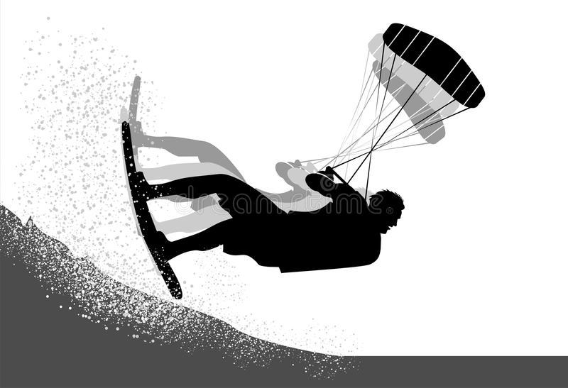 Kitesurfer action silhouette royalty free stock images