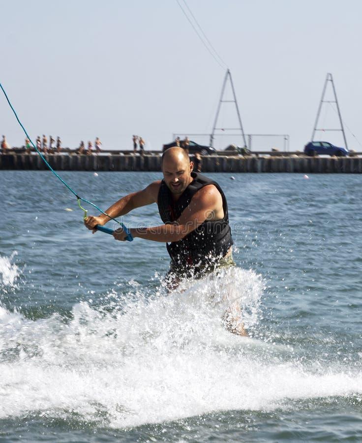 Kitesurfer jumping royalty free stock photo
