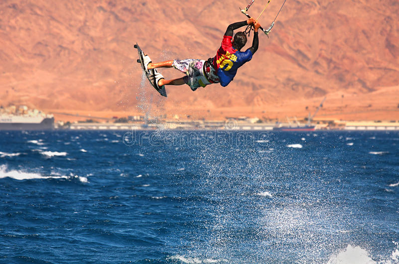 Kitesurfer on the Red Sea. royalty free stock photo