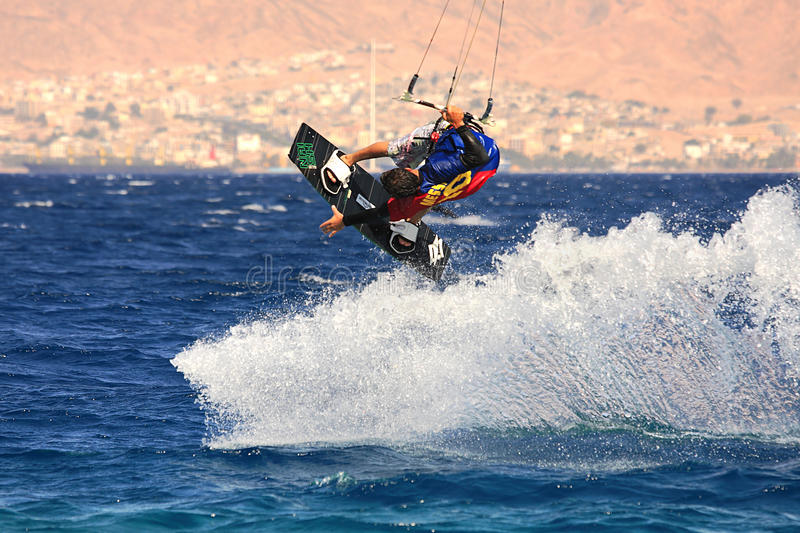 Kitesurfer on the Red Sea. royalty free stock images