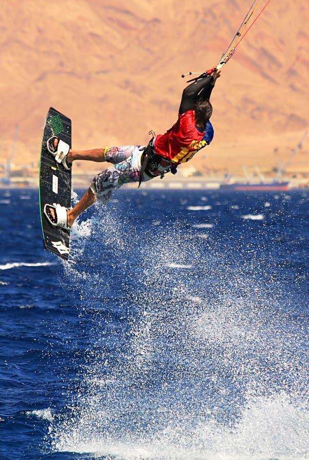 Kitesurfer on the Red Sea. stock photos