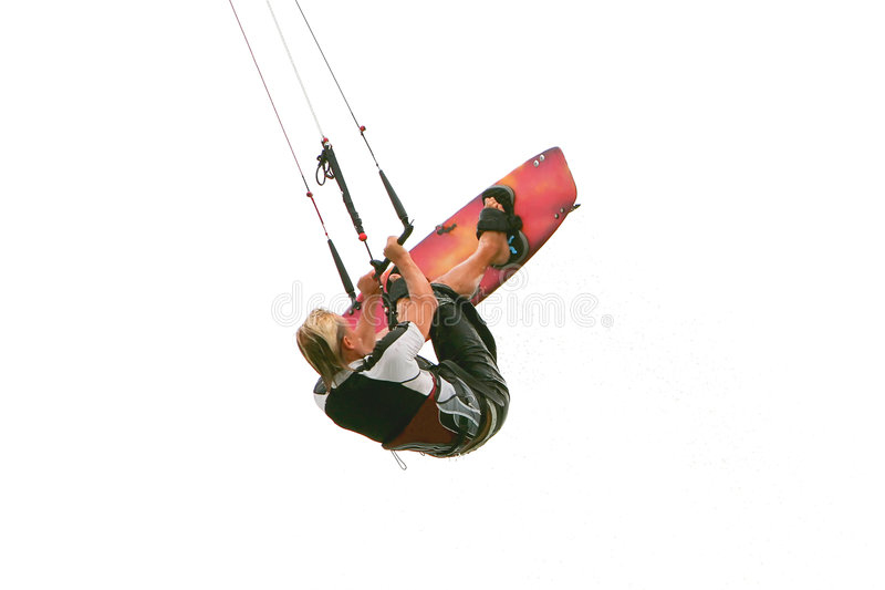 Kitesurfer in water drops. Isolated over white stock image