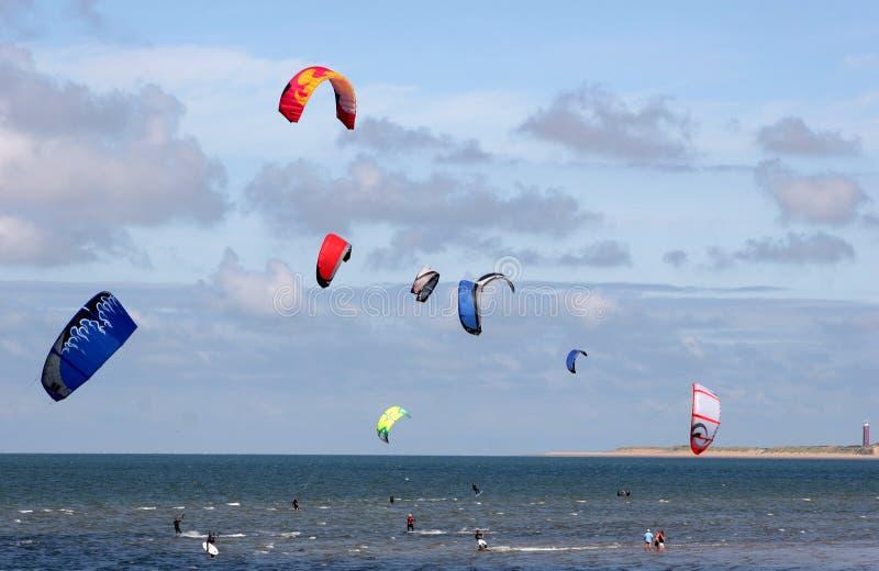 kitesurfers 免版税库存图片