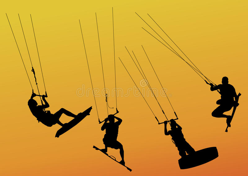 kitesurfers royaltyfri illustrationer