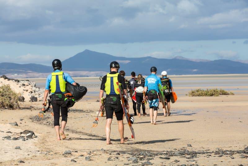 Kitesurfers on Beach Playa de Sotavento, Canary Island Fuerteventura,. Spain royalty free stock photo