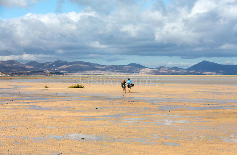 Kitesurfers on Beach Playa de Sotavento, Canary Island Fuerteventura. Spain stock photos
