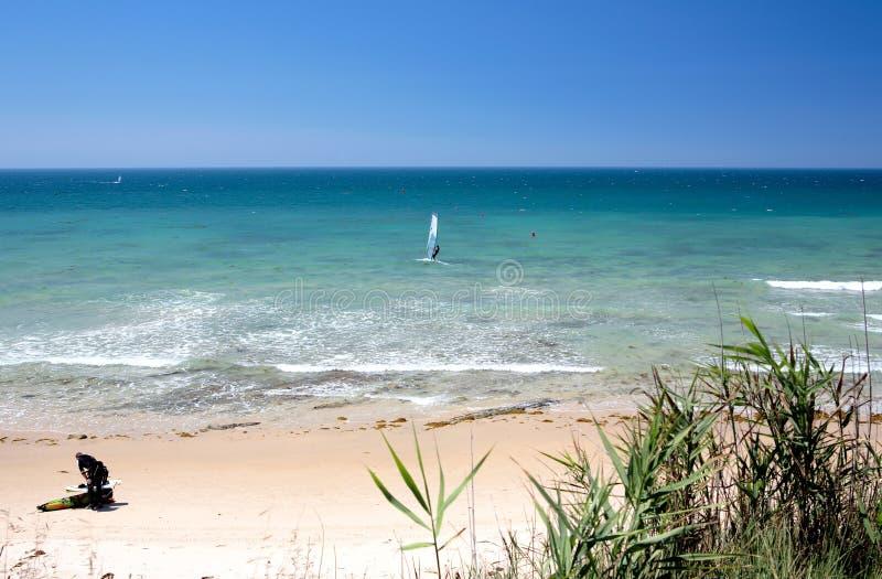 Kitesurfers En La Playa De Marbella En España Meridional Foto de archivo