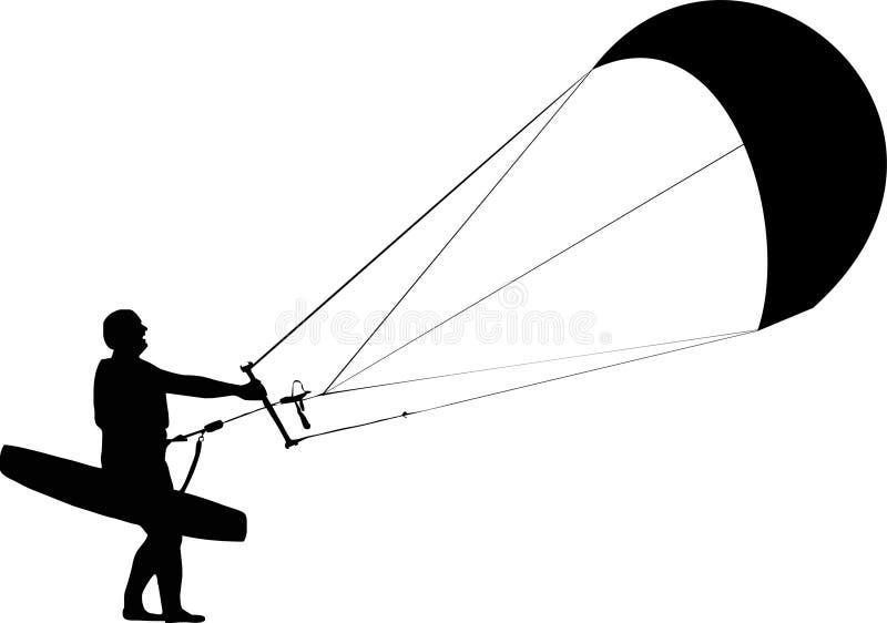 kitesurfersilhouette stock illustrationer