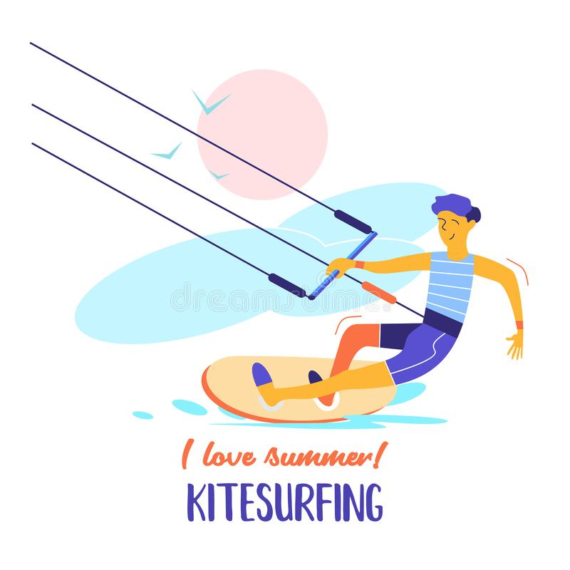Kitesurfing также вектор иллюстрации притяжки corel Kitesurfer спортсмена иллюстрация штока