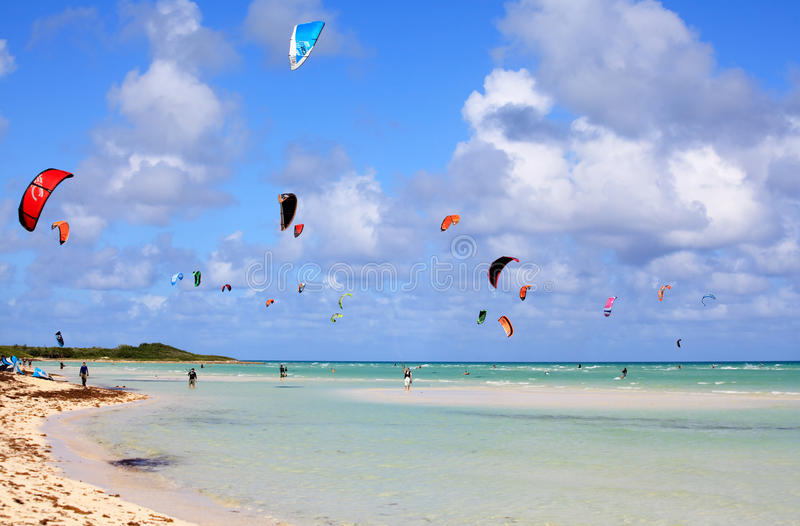 Kitesurfing. Cayo Guillermo in Atlantic Ocean stock photo
