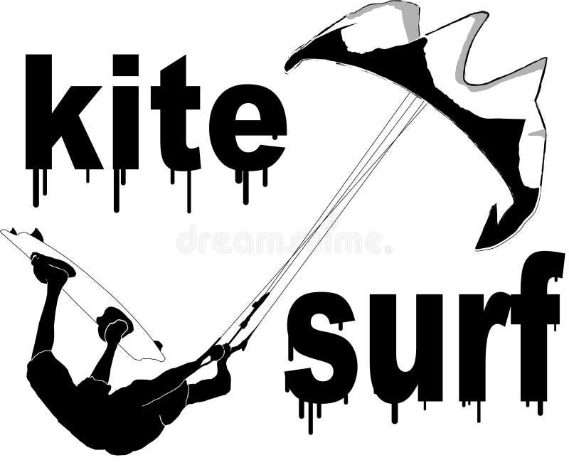 kitesurfing royaltyfri illustrationer