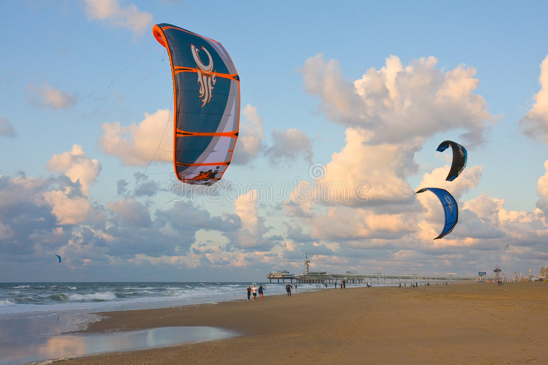 Kitesurfing. At Scheveningen, an old city at the Northsea, the Netherlands stock photo
