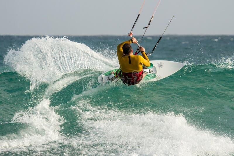 Kitesurfing Cabo Verde fotografia stock