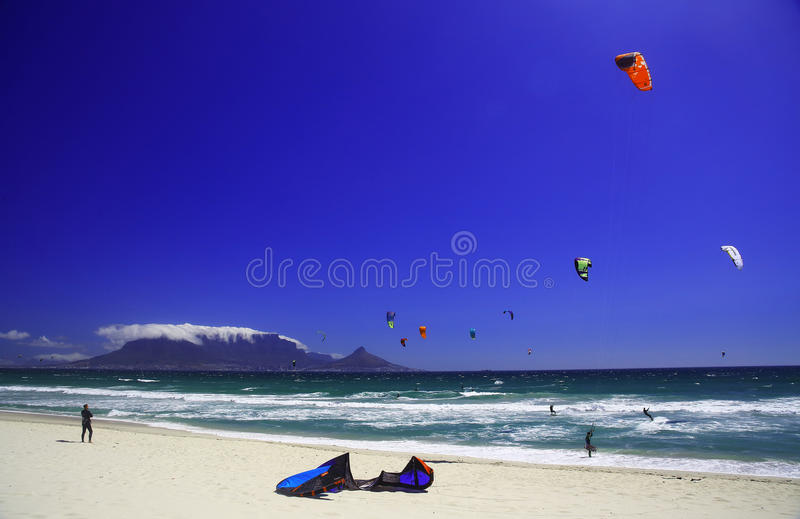 Kitesurfing Cape Town (I) stock image