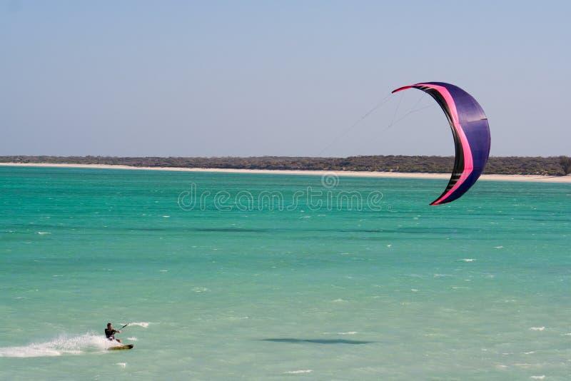 Kitesurfing in de lagune stock afbeelding