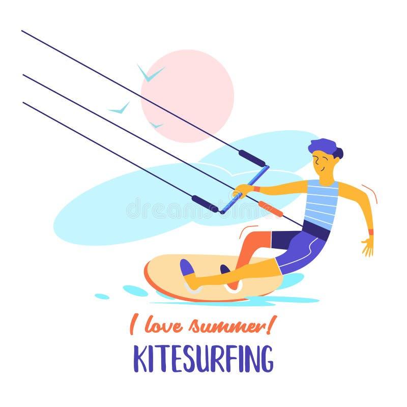 Kitesurfing Ilustración del vector Kitesurfer del deportista stock de ilustración