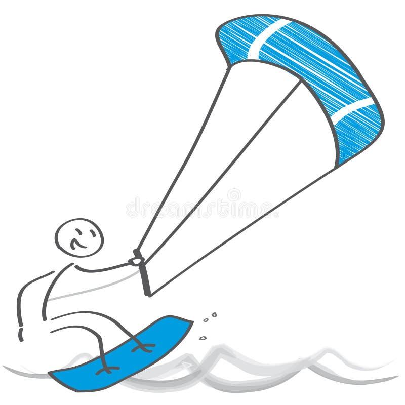 Kitesurfing - A kite surfer rides the waves stock illustration
