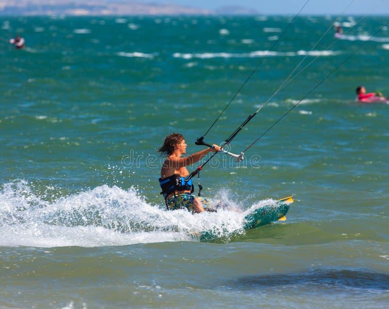 Kitesurfing, Kiteboarding action photos royalty free stock photography