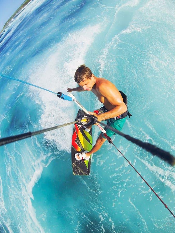 Kitesurfing. Kiteboarding, Extreme Sport. Fun in the ocean, Kitesurfing royalty free stock photography