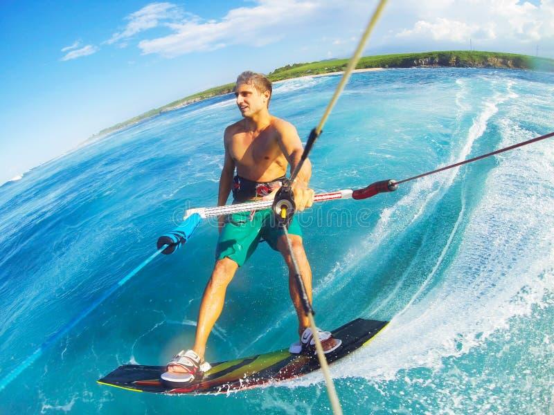 Kitesurfing. Kiteboarding, Extreme Sport. Fun in the ocean, Kitesurfing stock photo