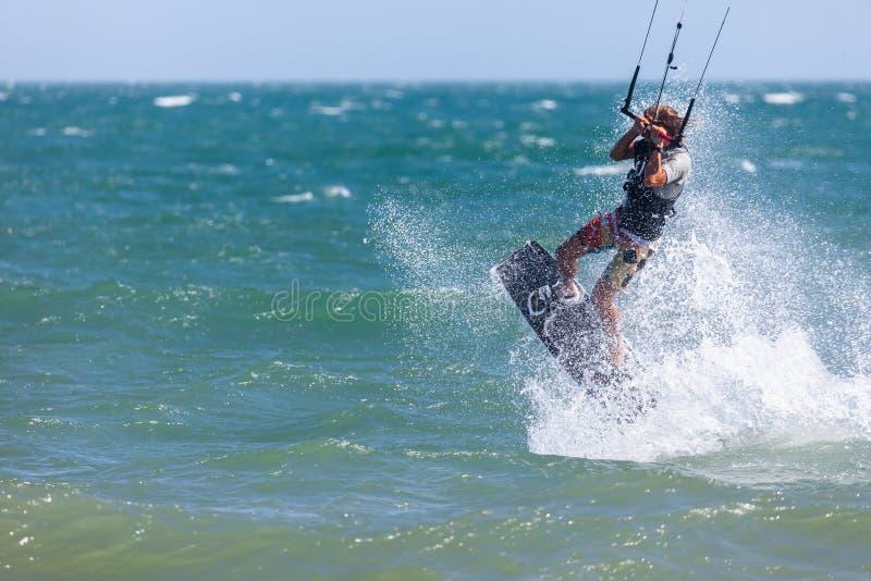 Kitesurfing or Kiteboarding royalty free stock images