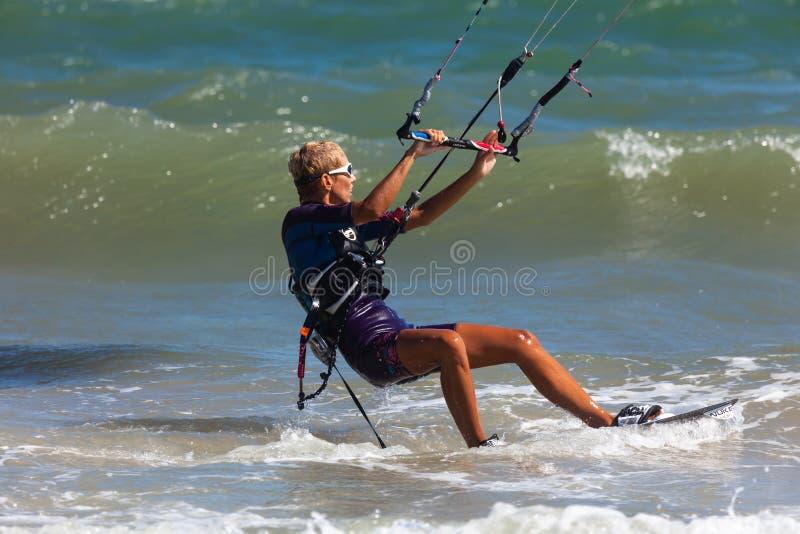 Kitesurfing or Kiteboarding stock photo