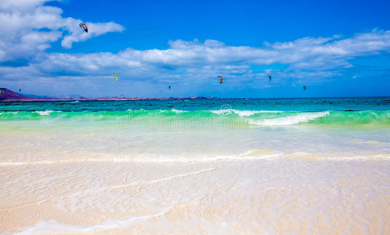 Download Kitesurfing stock image. Image of coast, attractive, isla - 61558715