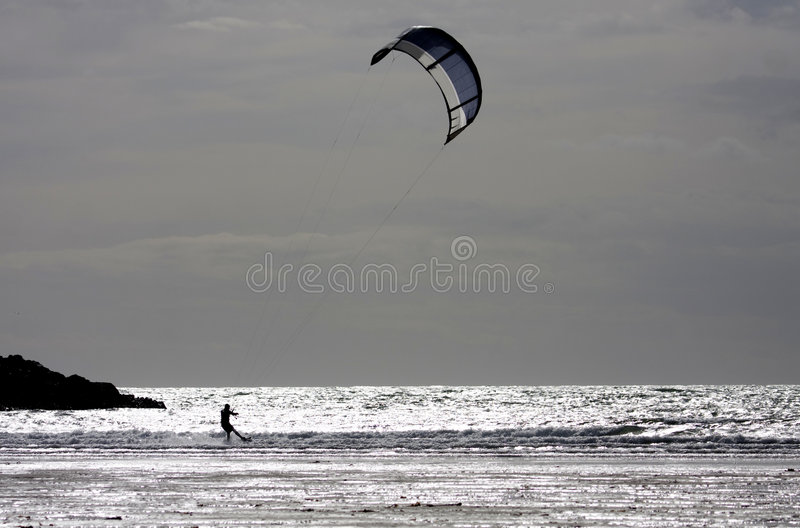 Download Kitesurfing at Rhosneiger stock image. Image of irish - 8746901