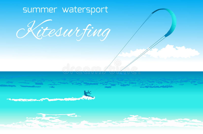 Kitesurfing summer watersport concept royalty free stock photos