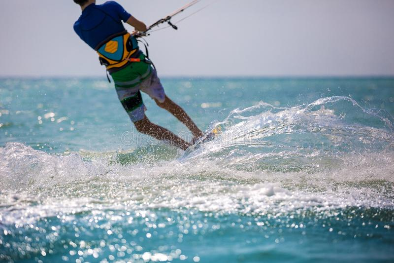 Kitesurfing. Various kitesurfing high arenaline action photos royalty free stock image