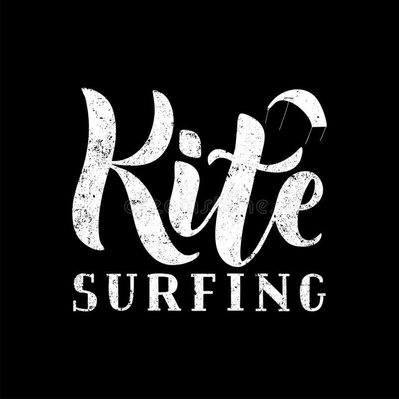 Kitesurfingshand geschreven geweven van letters voorziend embleem vector illustratie